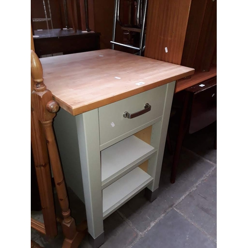 926 - A modern kitchen utility stand with butcher's block style top....