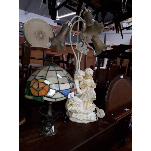 953 - A Tiffany style lamp and a figural lamp....