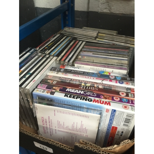 133 - A box of cds and dvds...