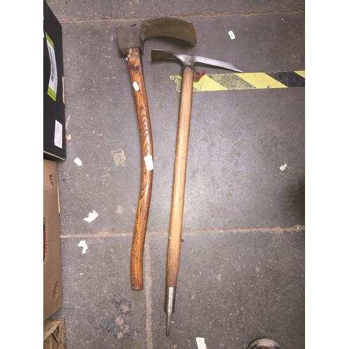 187 - A Stubai, Austrian vintage ice axe, together with an old adze...