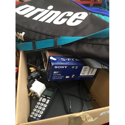 218 - A digital phoyto frame, house phone, and Samsung dvd r150 multiformat recorder...