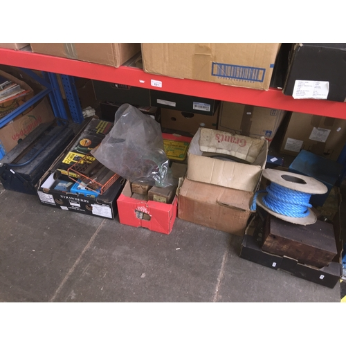231 - A large quantity of garage ware, tools, tololbox, hammer drill, chop saw, electric motor, screws, ro...
