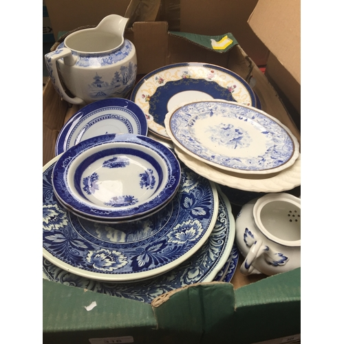 316 - A box of blue and white plates...