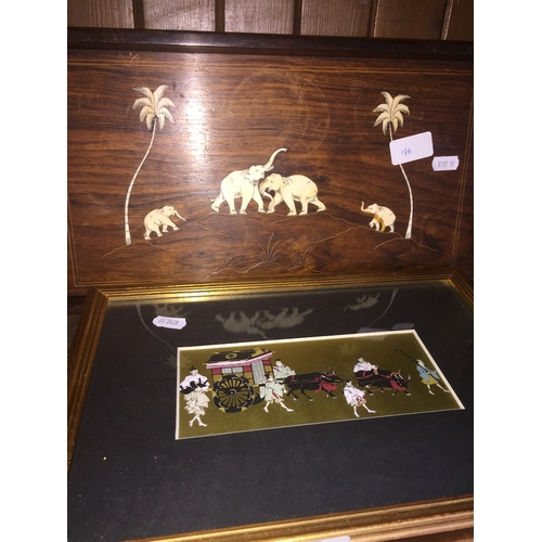 46 - An Indian rosewood tray with inlay and a print....