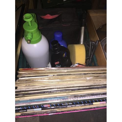 468 - A box of miscellaneous including LPs, garden sprayer, light stick, car shampoo etc...