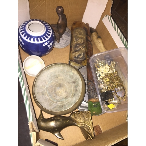 93 - A box of collectables including costume jewellery etc....