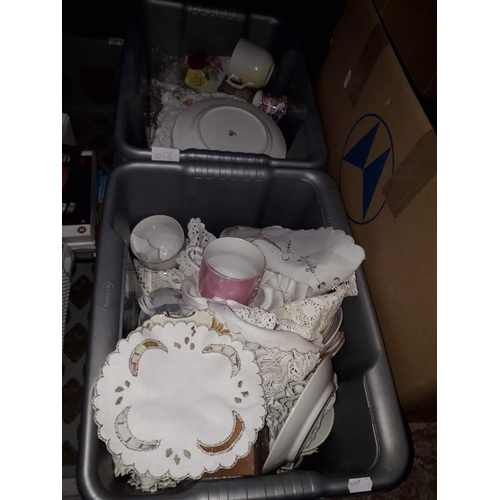 1058 - Two boxes of china including Victorian, moustache mugs etc....