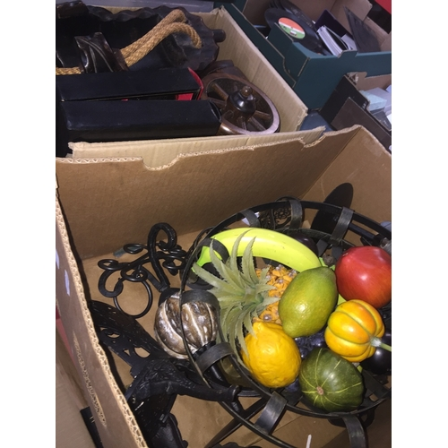 790 - Two boxes of mixed ceramics, treen, etc...