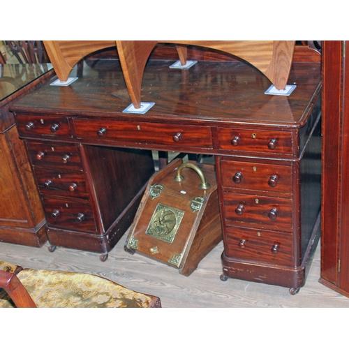 21 - A victorian mahogany pedestal desk, width 121cm, depth 60cm & height 74cm....