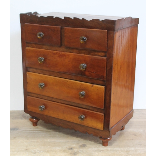 28 - A Victorian mahogany apprentice chest, width 39.5cm, depth 21.5cm & height 47cm....