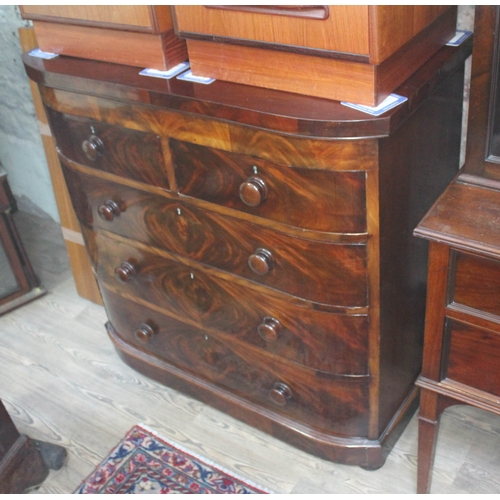 32 - An early Victorian mahogany chest of drawers with bun handles and feet, width 107cm, depth 55cm & he...