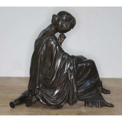 334 - James Pradier (Swiss 1790-1852), a bronze figure depicting a female figure sat with legs crossed, mi...