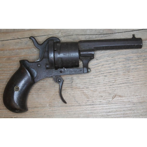 337 - A 19th century pin fire revolver, stamped 'The Guardian American Model 1878', length 16.5cm. Antique...