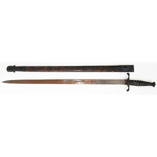 344 - A 19th century sword with single edged straight steel blade, wire bound leather grip with crown pomm...