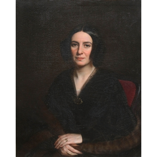 35 - 19th Century School, 3/4 length portrait of a lady, seated looking left with ringlets in her hair, w...