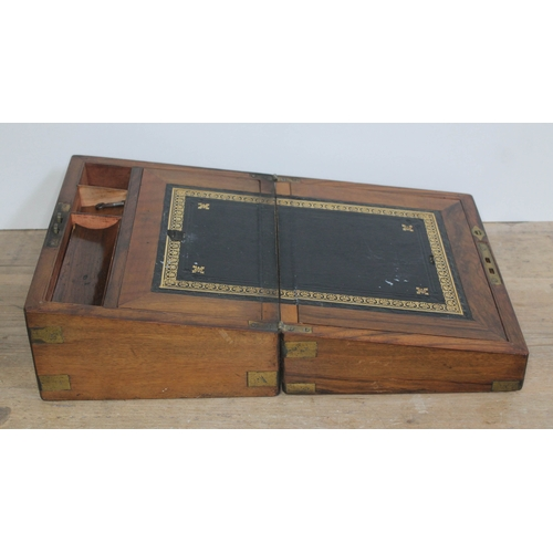 37 - A 19th century brass inset walnut writing slope, width 30cm, depth 23cm & height 15.5cm....