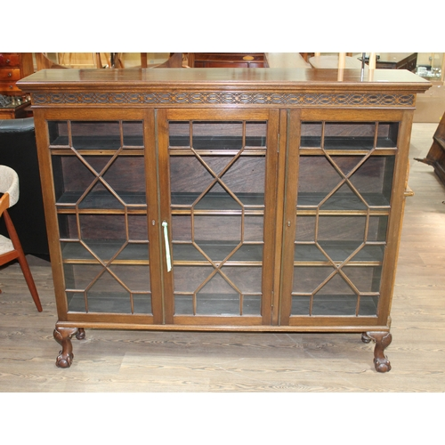 48 - An early 20th century mahogany bookcase cabinet with fretwork frieze above three astragal glazed doo...