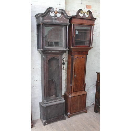 64 - Two long case clock cases, as found....