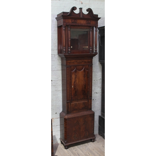 65 - A 19th century mahogany Ormskirk long case clock case, height 230cm....