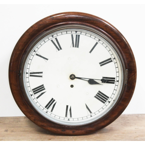 451 - A mahogany fusee wall clock, diam. 39cm, with key and pendulum....