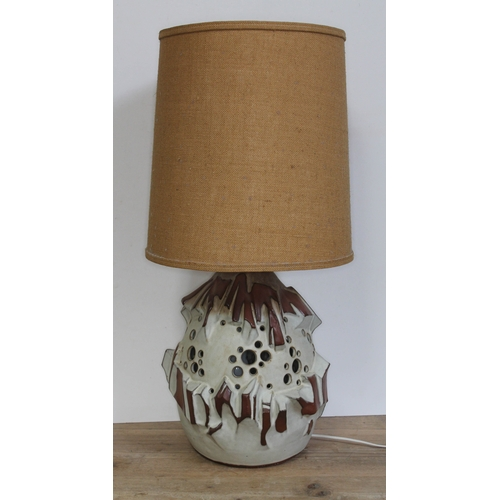 475 - A retro stoneware lamp and shade, height 75cm....