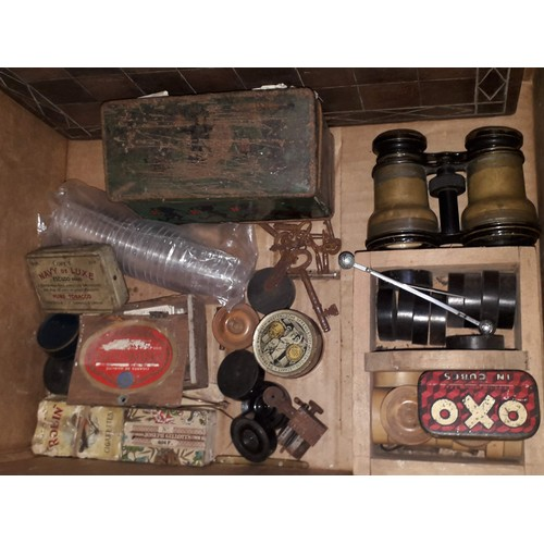 441 - A box of items including part of a chess board etc....