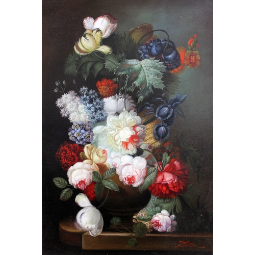 39 - Terence Alexander (20th century), still life, oil on canvas, 60cm x 90cm, signed lower right, framed...