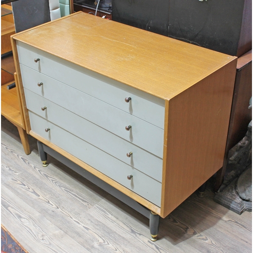 7 - A G-Plan light oak and painted chest of drawers with black base, width 96cm, depth 47cm & height 78....