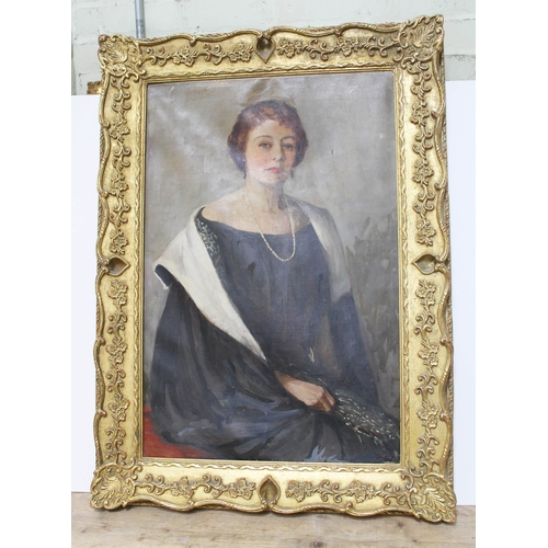 46 - British 20th Century School, three quarter length portrait depicting American film actress Sylvia Si...