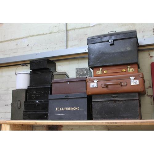 576 - A quantity of tins, cases, safe boxes etc.