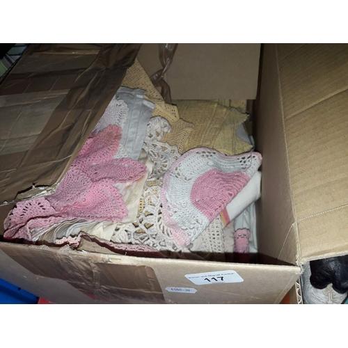 117 - A box of linen...