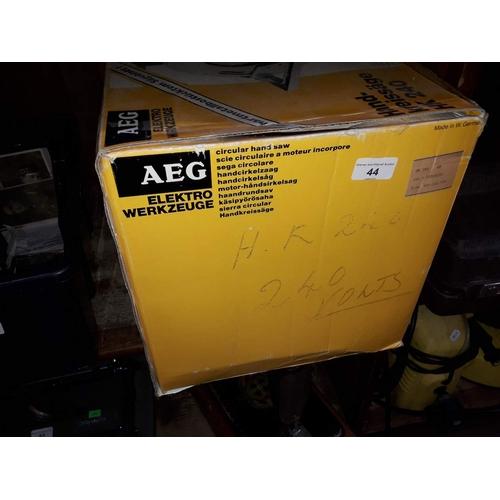 44 - An AEG hand and bench circular saw...