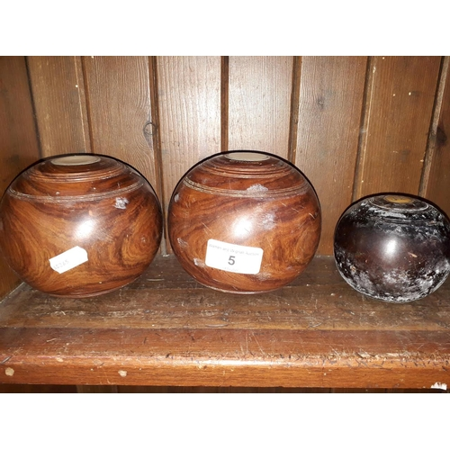 5 - A pair of bowls, Clare liverpool, remodelled, 2.25 bias, with non matching jack...