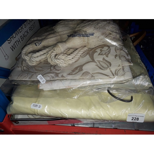 228 - Quantity of lace, material, tie backs, Victorian bonnet, velvet cushion covers, handkerchiefs, etc....