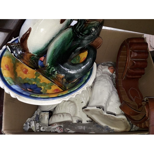 1 - A mixed lot including a pair of Staffordshire pot dogs, an ammo belt, a Japanese vase, other pottery...