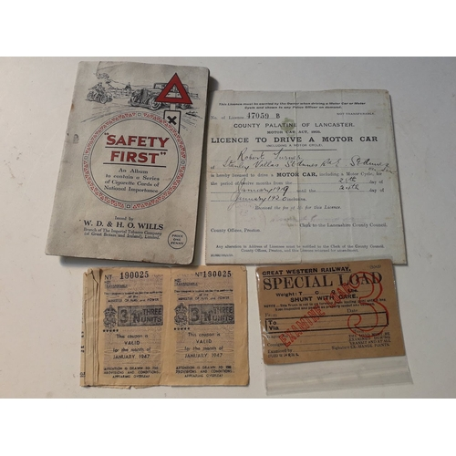 11 - Quantity of motoring memorabilia, 100 years old driving licence + Wills cigarette album from 1920's....