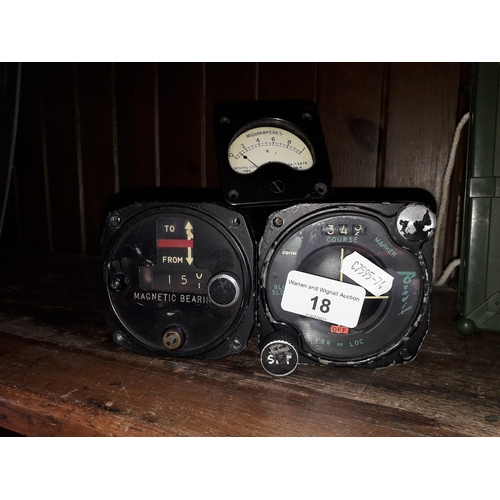 18 - Two military aircraft dials and another...