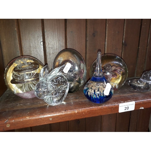 20 - 6 glass paperweights