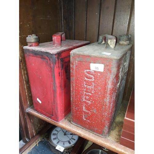 35 - 2 petrol jerry cans (not original Shell)
