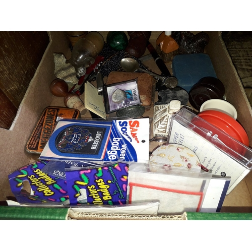49 - A box of collectables to include A George V jubilee spoon, MIZPAH brooch with amethyst, Oris 8 day a...