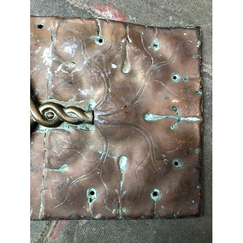 23 - A pair of ornate Art Nouveau brass and copper door plates...