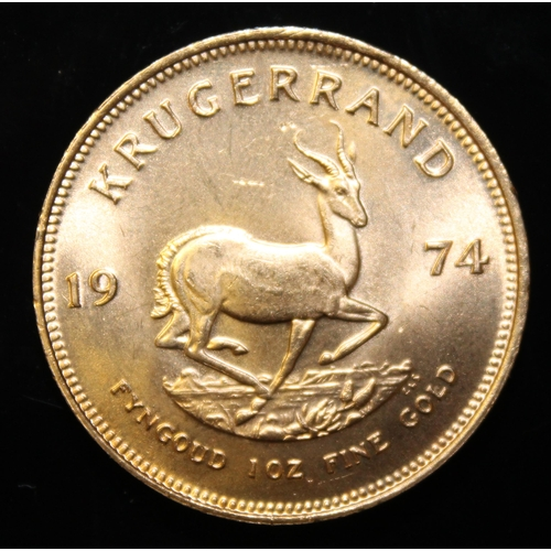 19 - South Africa, 1974 Krugerrand, 1 oz. fine gold (91.67%) ONLY 10% BUYER'S PREMIUM (INCLUSIVE OF VAT) ...