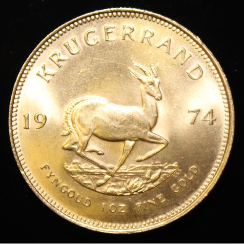 8 - South Africa, 1974 Krugerrand, 1 oz. fine gold (91.67%)  ONLY 10% BUYER'S PREMIUM (INCLUSIVE OF VAT)...