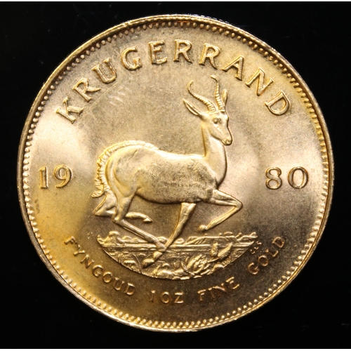 85 - South Africa, 1980 Krugerrand, 1 oz. fine gold (91.67%) ONLY 10% BUYER'S PREMIUM (INCLUSIVE OF VAT) ...