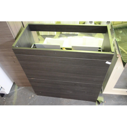 57 - oak wood effect vanity unit with 2 draws 800mm rrp £140...