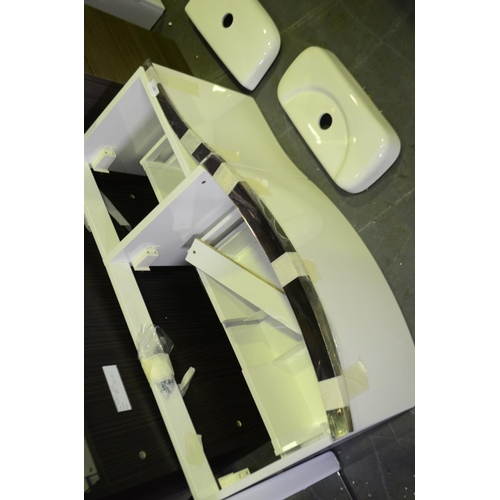 67 - 900mm white high gloss wall mount sink vanity unit rrp £150...