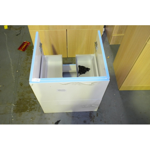 119 - white 500mm wall mount sink vanity unit with draw storage rrp £100...