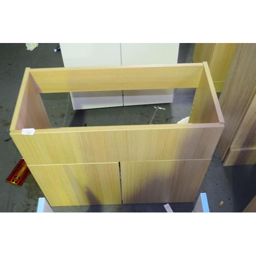 120 - light oak wall mount sink vanity unit with cupboard storage 700mm rrp £100...