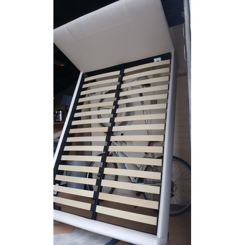 103 - DESIGNER DOUBLE WHITE BED RRP £240...