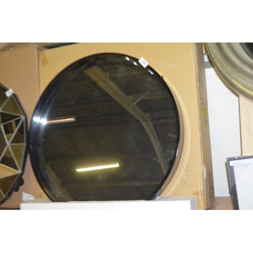 229 - DESIGNER WALL MIRROR WITH BLACK FRAME...